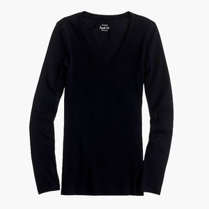 J Crew Perfect-fit long-sleeve V-neck T-shirt